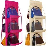 7 cores em casa 6 bolsos bolsa bolsa bolsa de armazenamento saco de pendurado livros organizador guarda-roupa guarda-roupa cabide dupla face dobrável transparente DDA3366