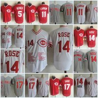 Mens #14 Pete Rose commemorative Jerseys Stitched #5 Johnny ...