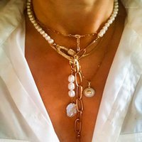 Anhänger Halsketten 2021 Herbst Kreative Design Perle Halskette Natürliche Süßwasser Punk Kette Nähen Mode Gothic Schmuck Charm1