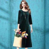Plus Size M-7XL Frühlings-Sommer-Samt-Kleid-Frauen drei Viertel-Hülsen-beiläufiges dünnes Kleid Fest Farbe Weicher Damen-Kleider Vestidos