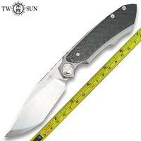 Novo Twosun Outdoor M390 Fiber Carbono Titanium Flipper Faca TS229-M390