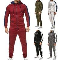 Мужские трексуиты Мода Цвет блокировки свитер Sportswear Plus Размер Jogger Sporting Suit Mounts Switch Suitsuits Установите M-3XL 2021