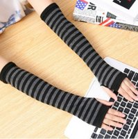 Five Fingers Gloves 1Pair Soft Fashion Women Lady Stretchy Wrist Arm Hand Warmer Knitted Mittens Punk Gothic Rock Long