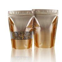 En relieve 1000pcs / lot 9 * 13cm Oro Stand Up papel de aluminio a prueba de humedad del té de caramelo Ziplock bolsas de válvula ventana transparente con el paquete del bolso