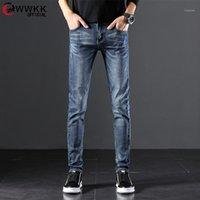 WWKK 2020 TOP Qualité Discount Hommes Slim Slim Jeans sur des ventes chaudes Hommes pas chers Mode Bleu Coton Business Pantalons longue taille 37 381