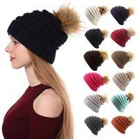 Bonnet tricoté chapeau unisexe hiver extérieur garder chaude chapeau chaud pour femmes hommes mode pompon pompon crullies capsules cyclables équipement équipement
