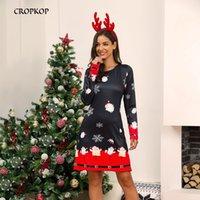 Creamkop зимние рождественские печатные платья женские новогодние лагер размер вечеринка с длинным рукавом платье повседневное плюс размер женские пеплум Vestidos LJ201202