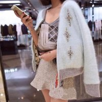 HAMALIEL Kore Sonbahar Kış Kadın Örgü Kazak Hırka Coat Vizon Kaşmir elmas Kalın Sıcak Fermuar Ceket Coat1