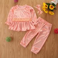 Ins bébé automne Tenues enfants de couleur unie manches longues à volants Tops Pull + Pantalons Set Costumes Vêtements enfants velours S745