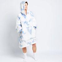Teinture bleue Sweat à capuche oversize surdimensionnée chaleureuse poche souple polaire extérieure couverture pondérée pour literie Voyage Sweatshi