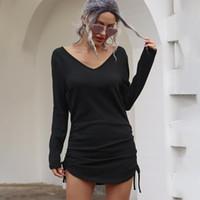 Casual Kleider Sexy V-ausschnitt Plissee Minikleid 2021 Frauen Langarm Mode Herbst Winter Streetwear Party Outfits Clubwear D30