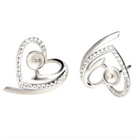 Heart Zircon Sterling 925 orecchini orecchini Impostazioni Silver Perla Montaggio monili di orecchini non finiti che fanno 5 paia