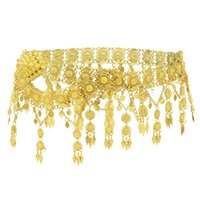 Indian Style 14K Gold Plated Metal Flower Belly Chains Dancing Summer Beach Sexy Body Women Jewelry