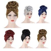 Frauen hell SEQUNIS Muslim Turban Hijabs Große Blume Elastische Kopf Wrap Damen Hochzeitsfest Haarschmuck Mode Headwear