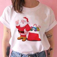 Koszulka damska Kawaii Santa Claus T Shirt Kobiety Moda Boże Narodzenie Harajuku Z Krótkim rękawem Topy Biały Odpowiedni Happy Year Tshirt Ubrania