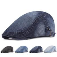 Casual Denim Flatcap Adjustable Cotton Hat Jeff Cap Gewaschene klassischer Cowboy Frau und Mann Vintage Mode