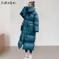 FORYUNSHES Зимняя куртка женщин с капюшоном утепленная теплый толстый длинный хлопок ватник Мода осень Femme Сыпучие Overcoats 201014