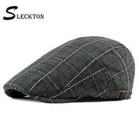 Sleckton Moda Ekose Newsboy Cap Erkekler için Casual Bereliler Şapka Feuded Cap Kadınlar Fransa Düz Yaz Vizör Unisex Cabbie Gorras1