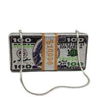 Boutique De FGG pile d'argent cristaux chaud fixes Femmes Argent Soirée Sacs d'embrayage diamant de mariage Dîner et sacs à main c1009