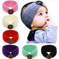 Nouveau bébé Filles Bandeau Mode Laine Crochet Knit Serre-tête avec bouton Décor d'hiver du nouveau-né oreille couveuse tête headwrap 7 couleurs WY929