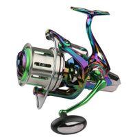 2021 Spinning Pêche Bobines de pêche 60 lbs Max Drag Power 18 + 1 En acier inoxydable BB Coulée en métal Roue de pêche 8000 10000 12000 Série SPOOL Freshwate