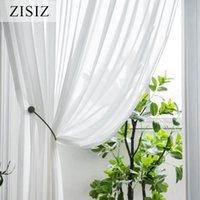 Rideau rideaux zisiz rideaux de tulle de mousseline de mousseline blanche pour salon chambre à coucher sur la salle de voile de filtrage de Windows