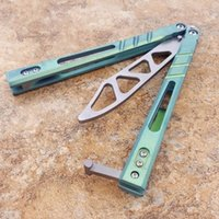 Balisong Green AB D2 Sanwich 티타늄 핸들 나비 트레이너 훈련 나이프 부싱 시스템 공예 무술 컬렉션 캔