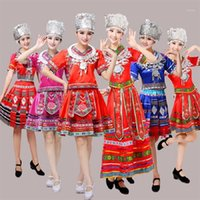 Abbigliamento da palcoscenico Classico Costumi di danza cinese tradizionale per le donne Miao Hmong vestiti Hmong-vestiti China Abbigliamento nazionale1