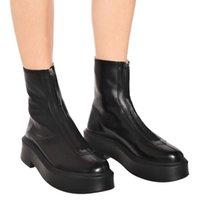 Stiefel 2021 Mode Leder Frauen Platform Design Front Zipper Knöchel Für Chunky Heel Winter Schuhe