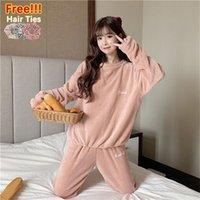 Melife Kış Sıcak Kadife Pembe Pijama Kadınlar Için ATOFF Ev Saten Saf Flanel Pijama Peluş Yumuşak İpek Lounge Gecelikler 201217