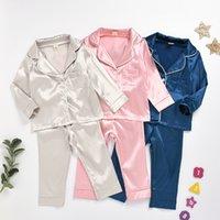 2020 новых детских пижамы набора костюма младенец одежды малыши лед шелк сатин чистого цвета топ костюм брюки на дом детской одежды