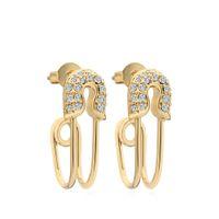 Varole gekrümmte Sicherheits-Pin-Ohrringe glänzend kristall baumeln ohrungen gold farbe ohrringe für frauen schmuck oorbellen brincos