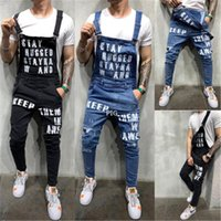 Men &#039 ;S Casual High Quality Suspender Trousers New Casual Hot Sale Pants Hole Letter Printed Jeans Free Shipping j