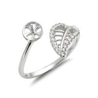 Bladring Mounts 925 Sterling Silver Blanks Zirkoon Hollow Cut Leaf Design Pearl Instellingen 5 Stuks