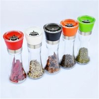 Cocina Creative Glass Pepper Mills Grinder Portable Pimienta Polvo Máquina Máquina Máquina gruesa Sol Grinder Sazonador Botella VTKY2250