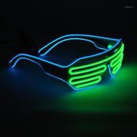 Güneş Gözlüğü Yeniler Işıkları 2-Color El Tel Neon LED Işık Parti DJ Yukarı Parlak Deklanşör Şekilli Gözlük Rave Sunglasses1