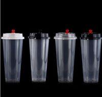 뚜껑 무료 배송를 700ml 24온스 일회용 플라스틱 컵 콜드 뜨거운 음료 주스 커피 밀키 차 컵 두꺼워 투명 음료 도구