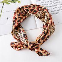 Scarves Fashion Thin Square Silk Leopard Scarf Satin Luxury Handkerchief Women Summer Sunscreen NeckScarf Headwear Hair Band M1