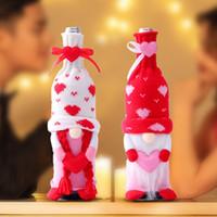 Valentinstag Wein Fall Deckung Dekoration Gesichtslose Puppe Liebe Wein Flasche Tasche Set Haushalt Home Decoration HH21-32
