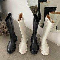 2020 vinapobo 라운드 발가락 플랫폼 승마 부츠 여성 블랙 화이트 펑크 chunky 힐 무릎 부츠 여성 측면 지퍼 디자이너 shoes1