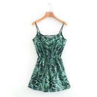 Q1135-viento 2020 verano nuevo verde hoja estampado cintura correa mono pantalones cortos de mujer