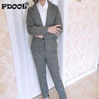 Женские двух частей брюки женские решетки деловой костюм мода женская карьера куртка повседневная двусмысленная брюка у женщин костюм костюм Femme1