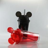 15 унций акриловые тумблеры мыши акриловые туристические чашки с соломинкой сок бокал стекло детей младенца мультфильм милый пластиковый тумблер DHL доставка 4301