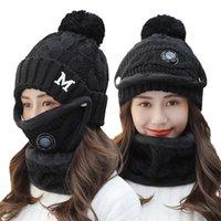 Chapeau WinterCycling Femmes 3 pièce chaude laine Beanies skullies Chapeaux avec col Masque bavoir Femme velours épais anti-smog casquettes tricotées