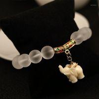 MATERIAL MATERIAL Pulseras de cristal natural Estirar Pulsera de elefante para las mujeres traen buena suerte y riqueza regalo de cumpleaños EIG881