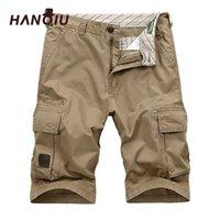 Hanqiu sommer männer cargo shorts gerade lockere mode baumwolle herren armee militärische kurze hosen plus größe 44 y200901