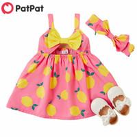 Patpat 2020 новый летний ребенок лимон печать малого платья с повязкой набор для девочки лимон каникул одежда одежда LJ201222