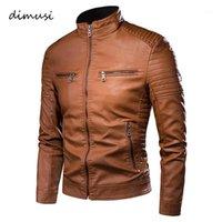 Dimusi Men's Jacket Mode Mens Vertes Vintage Cuir Vestes Casual Hommes Faux En Cuir Moto Vestes Biker Zipper Poches Coches1