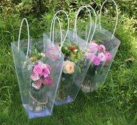 Трапециевидная водонепроницаемая прозрачная подарочная сумка пластиковый пластиковый цветочный магазин PVC упаковочный пакет вечеринка праздник цветочные сумки оптом