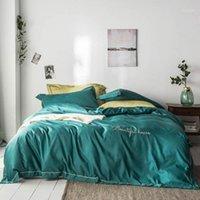 2020 Moda Sólido Oscuro Verde Bordado Cojas de cama Seda Artificial Satén Edredón Duvet Set Queen King Sedalle Setting Set1